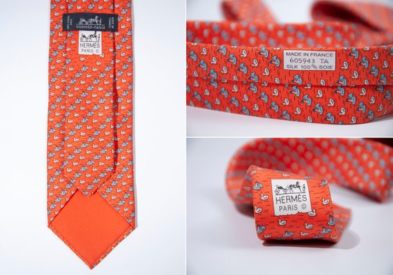 Men's Hermes Tie Silk Twill Necktie Animal Print V