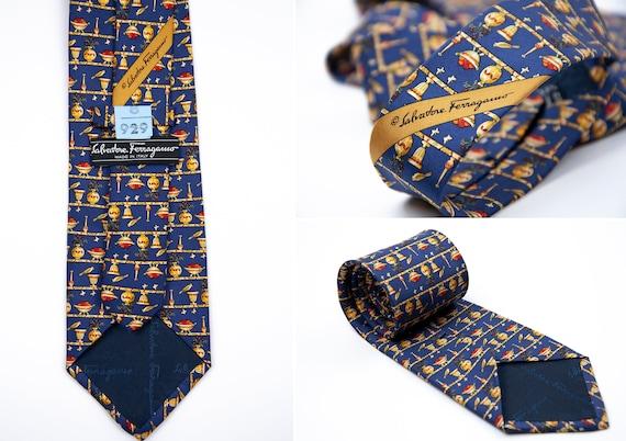 Men's SALVATORE FERRAGAMO Handmade Silk Blue Tie N