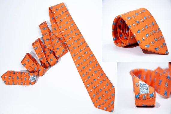Men's HERMES Tie Silk Necktie Mens Whimsical Toy H
