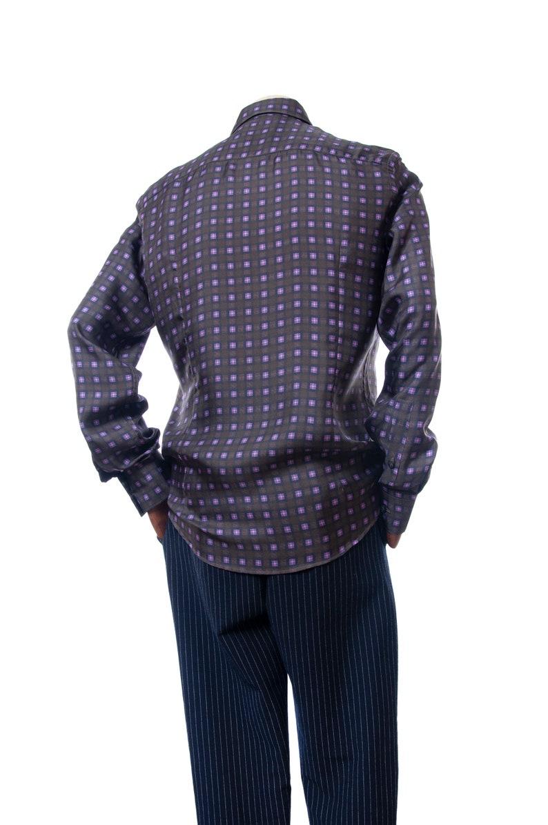 34 Green Olive Mens shirt Men/'s VERSACE COLLECTION Silk Long Sleeve Shirt Size 40  15 Vintage shirt