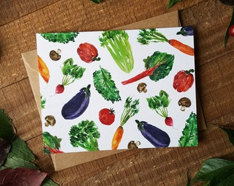 Veggies Card, Vegetables Card, Blank Card, Watercolour Card, Vegetarian Card, Summer Card, Garden Card