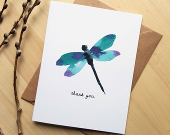 Dragonfly Card, Watercolour Dragonfly, Thank You Cards, Insect Note Card