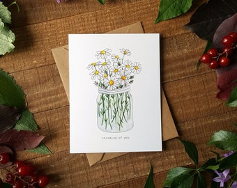 Thinking of You Card, Daisies Card, Floral Card, Flower Card, Watercolour Card, Watercolor Card
