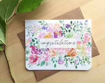 Congratulations Card, Wedding Card, Baby Card, Watercolor Flowers Card, Floral Glitter Card