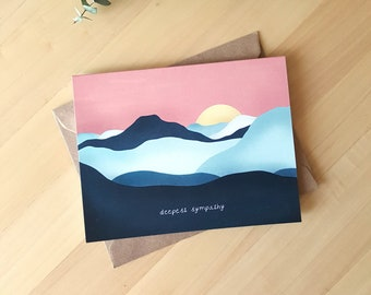 Sympathy Card, Sunset Mountains Card, Grief and Loss Card, Mourning Card