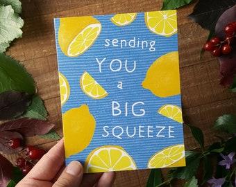 Lemons Card, Sending Hugs Card, Sending You a Big Squeeze, Love Card, Miss You Card, Cute Cards, Kids Cards