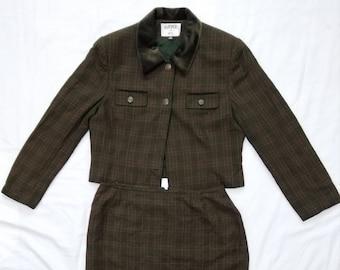 30a59246 Vintage Kasper For ASL Olive Green Plaid Velvet Collar Women Skirt Suit Size  14