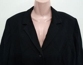 876aa7e9 NWOT Kasper Woman Black Skirt Suit 2 pc V Neck Button Front Size 18 W