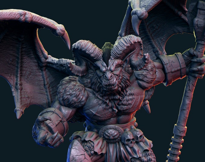 Demon - Pose 1 - 3D Printed Resin Miniature for Dungeons and Dragons, Pathfinder, Starfinder and other Tabletop RPGs