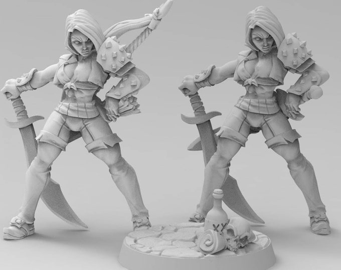 Aline the Bold - 2 Poses - 3D Printed Resin Miniature for Dungeons and Dragons, Pathfinder, Starfinder and other Tabletop RPGs
