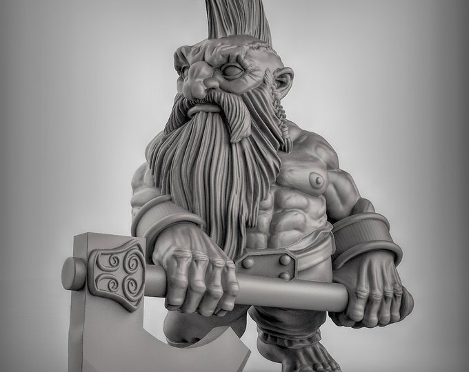 Dwarves - Dbl Handed Weapon - Pose 2 - 3D Printed Resin Miniature for Dungeons and Dragons, Pathfinder, Starfinder and other Tabletop RPGs