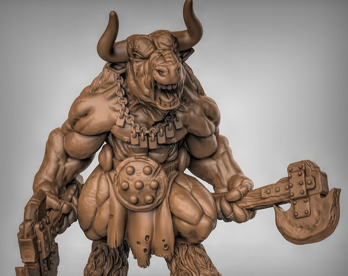 Minotaur - Hand Weapons - Pose 3 - 3D Printed Resin Miniature for Dungeons and Dragons, Pathfinder, Starfinder and other Tabletop RPGs