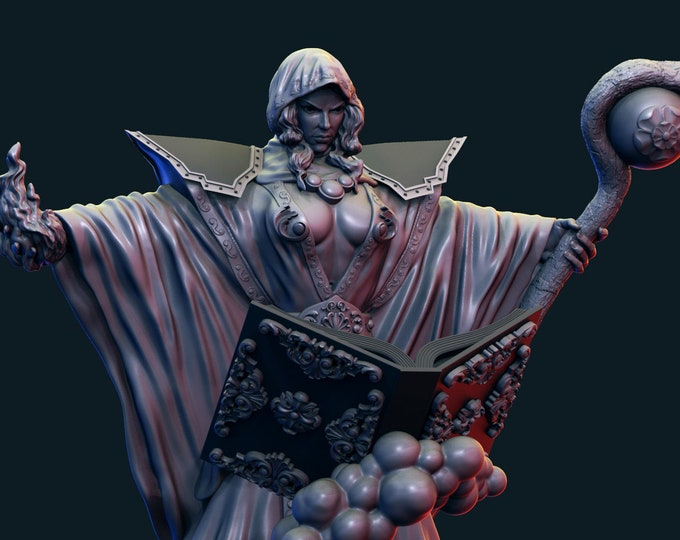 Female Mage Sorceress 3D Printed Resin Miniature for Dungeons and Dragons, Pathfinder, Starfinder and other Tabletop RPGs