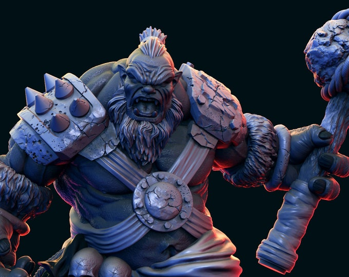 Ogre - Pose 1 - 3D Printed Resin Miniature for Dungeons and Dragons, Pathfinder, Starfinder and other Tabletop RPGs