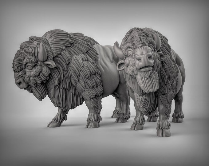Buffalo - 2 Poses -  3D Printed Resin Miniature for Dungeons and Dragons, Pathfinder, Starfinder and other Tabletop RPGs