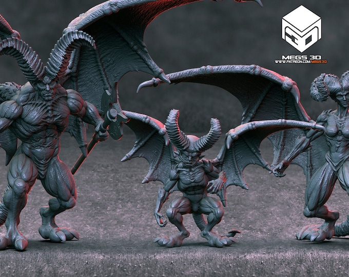 Horned Devil - 3 Variants (Male/Female/Kid) - 3D Printed Resin Miniature for Dungeons and Dragons, Pathfinder and other Tabletop RPGs