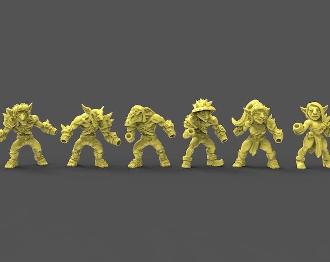 Sparksoot Goblins - Modular - 6 Poses - 3D Printed Resin Miniature for Dungeons and Dragons, Pathfinder, Starfinder and other Tabletop RPGs