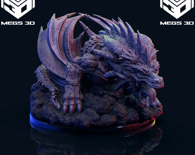 Big Dragon - 3D Printed Resin Miniature for Dungeons and Dragons, Pathfinder, Starfinder and other Tabletop RPGs