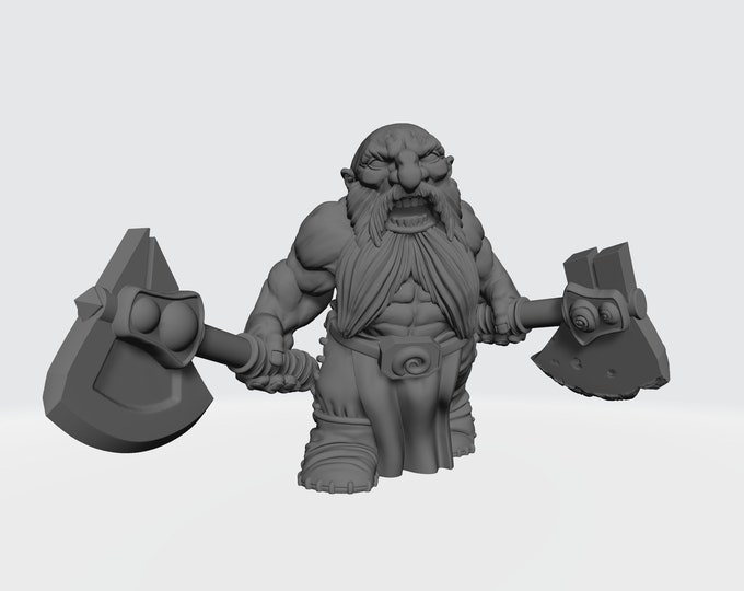 Dwarves - Dual Hand Weapons - Pose 1 - 3D Printed Resin Miniature for Dungeons and Dragons, Pathfinder, Starfinder and other Tabletop RPGs