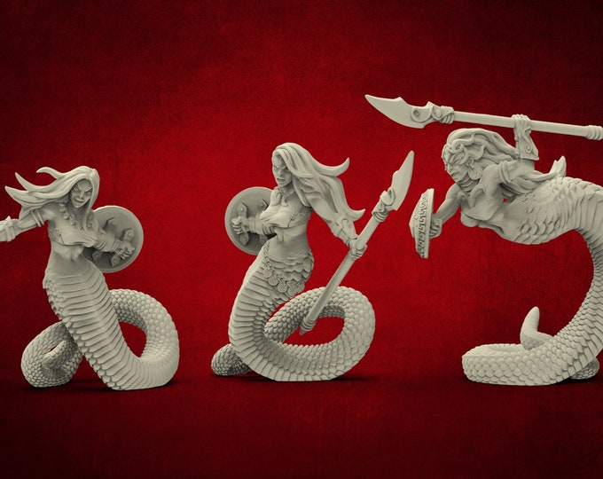 AMAZONS! Naga Tribe Snakewomen Guards - 6 Poses - 3D Printed Resin Miniature for Dungeons and Dragons Pathfinder and other Tabletop RPG