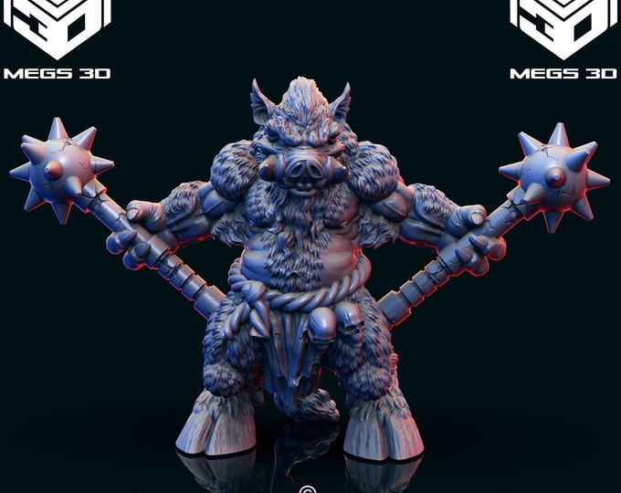 Wereboar 1 - 3D Printed Resin Miniature for Dungeons and Dragons, Pathfinder, Starfinder and other Tabletop RPGs