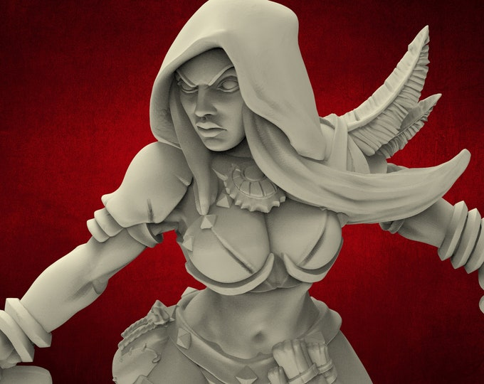 AMAZONS! Assassin - 2 Poses - 3D Printed Resin Miniature for Dungeons and Dragons Pathfinder and other Tabletop RPG