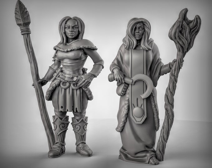 Druids - 2 Poses Available - 3D Printed Resin Miniature for Dungeons and Dragons, Pathfinder, Starfinder and other Tabletop RPGs