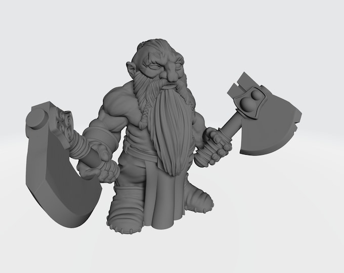 Dwarves - Dual Hand Weapons - Pose 2 - 3D Printed Resin Miniature for Dungeons and Dragons, Pathfinder, Starfinder and other Tabletop RPGs