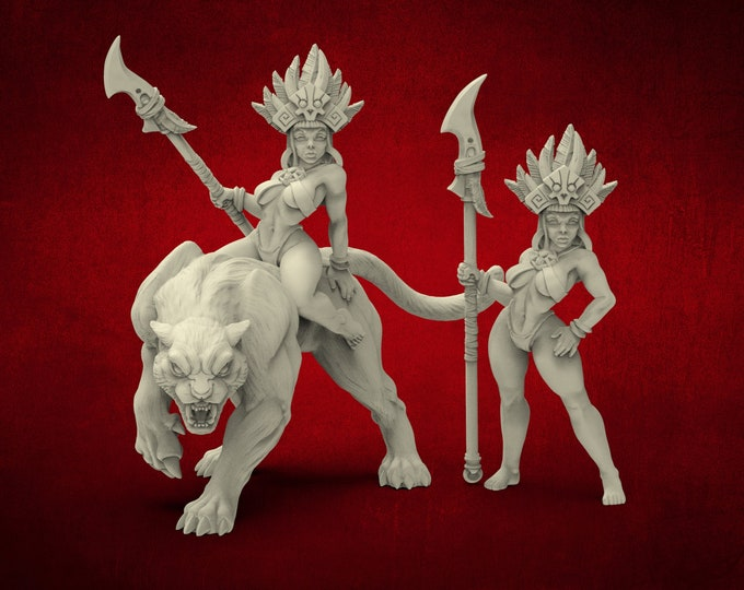 AMAZONS! Necromancer Tribe Priestess On Panther - 3 Poses - 3D Printed Resin Miniature for Dungeons and Dragons Pathfinder & other RPG