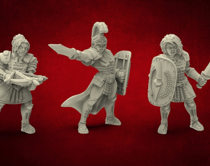 AMAZONS! Former Legionnaires - 3 Poses - 3D Printed Resin Miniature for Dungeons and Dragons Pathfinder and other Tabletop RPG