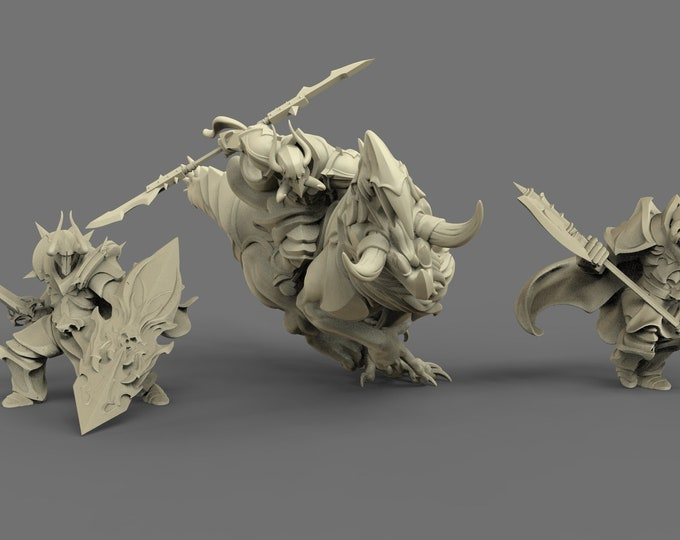 Dark Knights - 3 Poses - 3D Printed Resin Miniature for Dungeons and Dragons, Pathfinder, Starfinder and other Tabletop RPGs