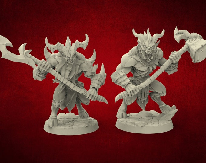 Demons Abyss Guardians - 2 Poses - Dungeons and Dragons - DnD - Pathfinder - Miniatures