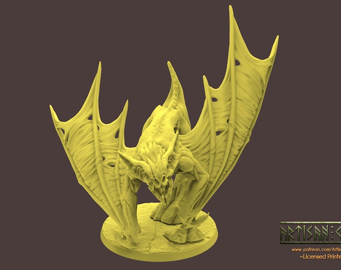 Drakenmir on Demon/Dire Bat - 4 Poses- 3D Printed Resin Miniature for Dungeons and Dragons, Pathfinder, Starfinder and other Tabletop RPGs