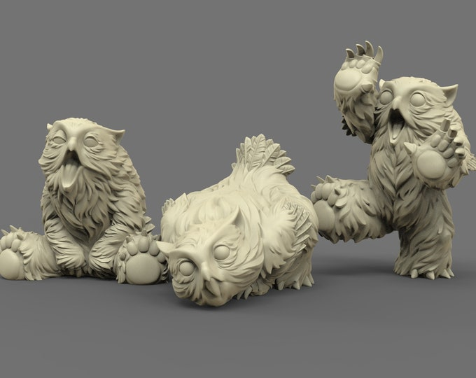 Owlbear Cubs - 3 Poses - 3D Printed Resin Miniature for Dungeons and Dragons, Pathfinder, Starfinder and other Tabletop RPGs