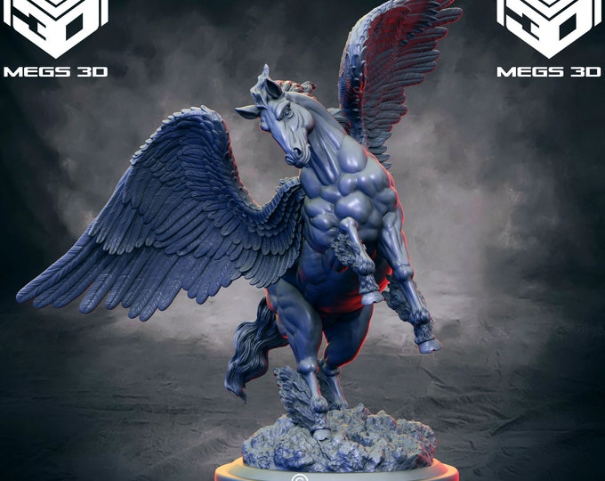 Pegasus / Horse - 2 Poses - 3D Printed Resin Miniature for Dungeons and Dragons, Pathfinder, Starfinder and other Tabletop RPGs