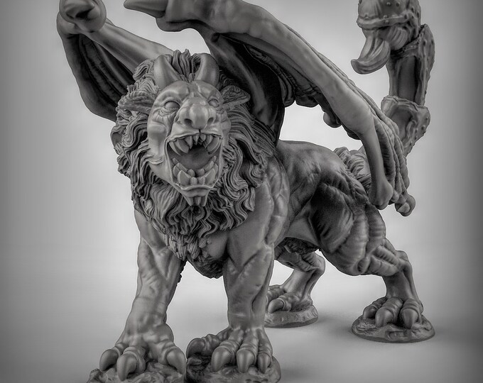 Manticore 3D Printed Resin Miniature for Dungeons and Dragons, Pathfinder, Starfinder and other Tabletop RPGs