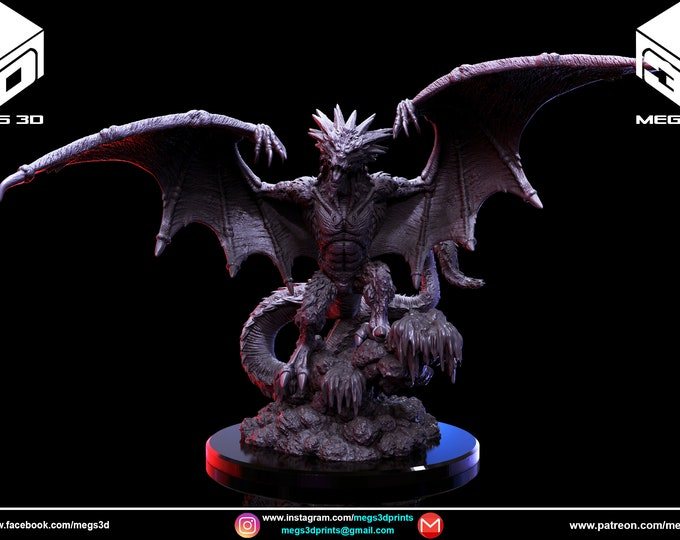 Ice Dragon - 3D Printed Resin Miniature for Dungeons and Dragons, Pathfinder, Starfinder and other Tabletop RPGs