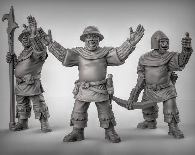 Happy Guards - 3D Printed Resin Miniature for Dungeons and Dragons, Pathfinder, Starfinder and other Tabletop RPGs