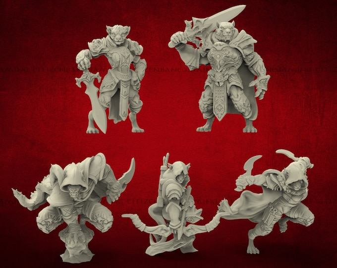 Tabaxi Set 2 - 5 Variants - 3D Printed Resin Miniature for Dungeons and Dragons Pathfinder and other Tabletop RPG