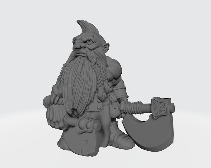 Dwarves - Dual Hand Weapons - Pose 3 - 3D Printed Resin Miniature for Dungeons and Dragons, Pathfinder, Starfinder and other Tabletop RPGs