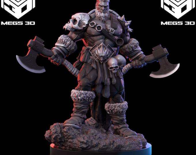Barbarian Warrior 3D Printed Resin Miniature for Dungeons and Dragons, Pathfinder, Starfinder and other Tabletop RPGs