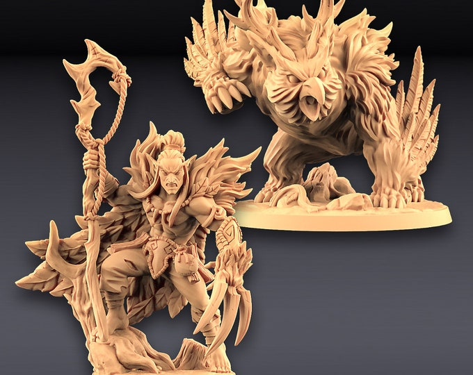 Uldar Shapeshifter & Owlbear - Deepwood Alfar - 3D Printed Resin Miniature for Dungeons and Dragons Pathfinder and other Tabletop RPG