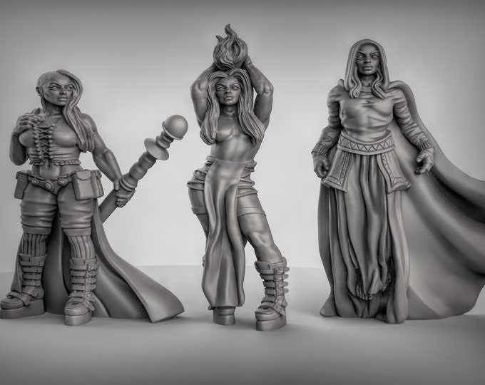 Female Sorcerer - 3D Printed Resin Miniature for Dungeons and Dragons, Pathfinder, Starfinder and other Tabletop RPGs