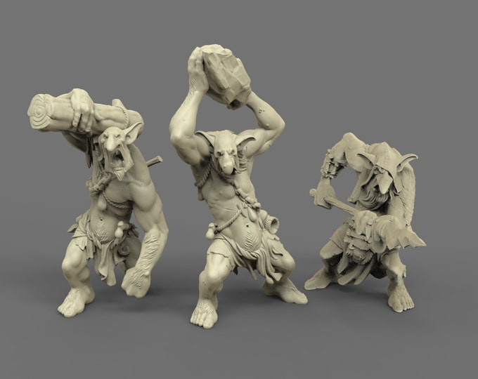 Troll- 3 Poses - 3D Printed Resin Miniature for Dungeons and Dragons, Pathfinder, Starfinder and other Tabletop RPGs