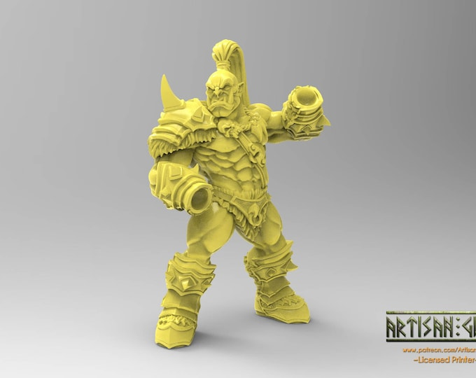 Orc Barbarian Male - Modular - 2 Poses - 3D Printed Resin Miniature for Dungeons and Dragons, Pathfinder, Starfinder and other Tabletop RPGs