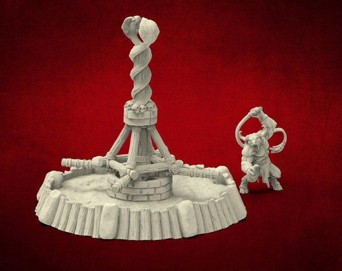AMAZONS! Minotaur Slaver & Wheel of Pain - 3D Printed Resin Miniature for Dungeons and Dragons Pathfinder and other Tabletop RPG