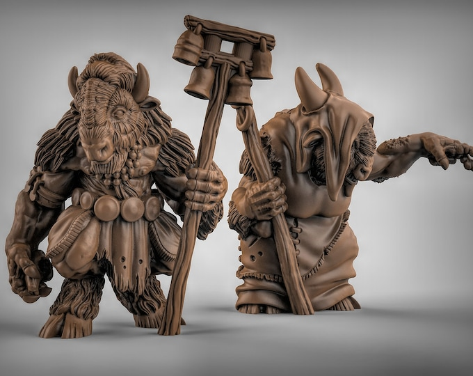 Minotaur Shamans - 2 Poses Available - 3D Printed Resin Miniature for Dungeons and Dragons, Pathfinder, Starfinder and other Tabletop RPGs
