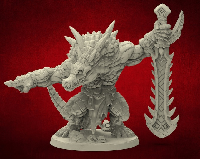 AMAZONS! Zantharot Lizard Champion - 3D Printed Resin Miniature for Dungeons and Dragons Pathfinder and other Tabletop RPG