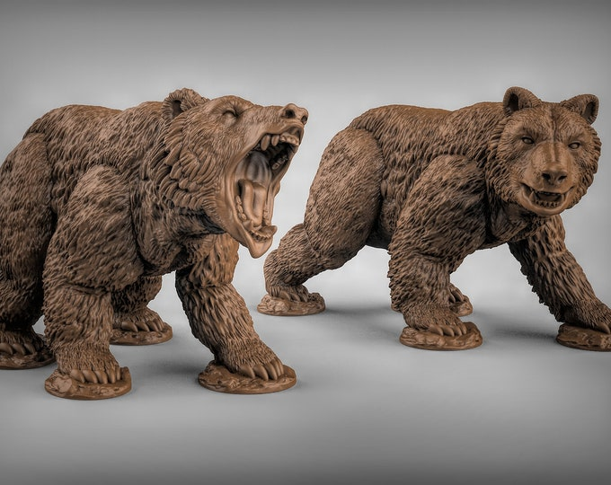 Bears - 2 Poses -  3D Printed Resin Miniature for Dungeons and Dragons, Pathfinder, Starfinder and other Tabletop RPGs