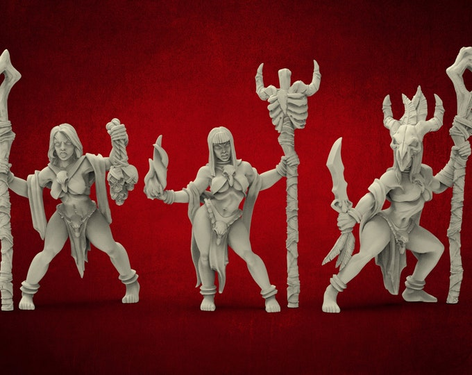 AMAZONS! Necromancer Tribe Priestesses - 3 Poses - 3D Printed Resin Miniature for Dungeons and Dragons Pathfinder and other Tabletop RPG